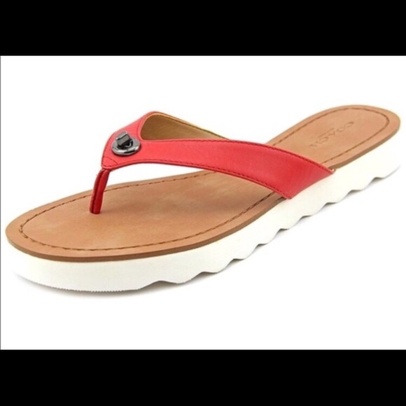 b75f80b3261f Coach Shoes - Coach Red Shelly Thong Leather Sandals